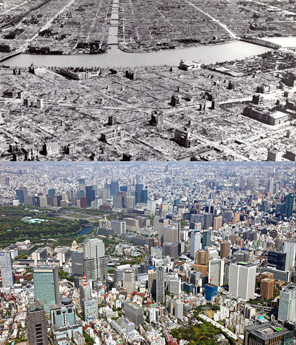18. Tokyo, Japan, after WWII in 1945 and 2013