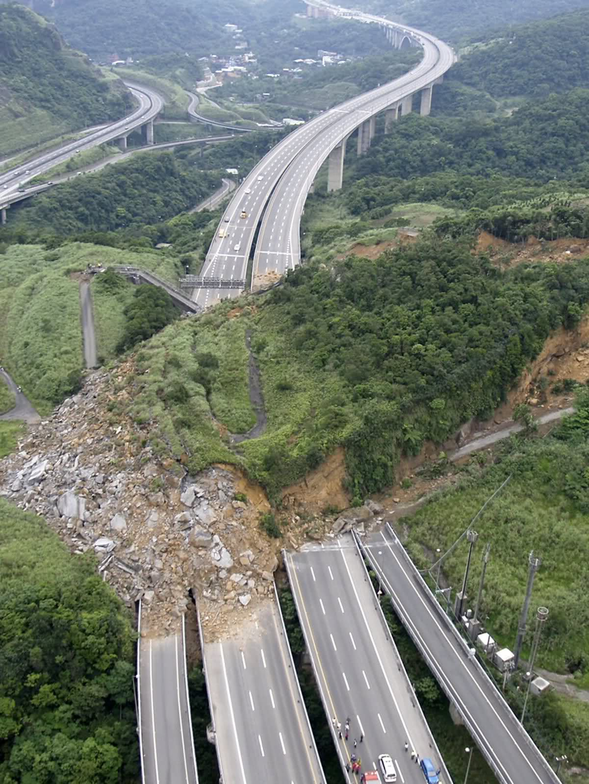Xizhi, Taiwan - A landslide occured  on April 25, 2010 covering National Highway No. 3, the highway that links Taipei to Keelung in north Taiwan.